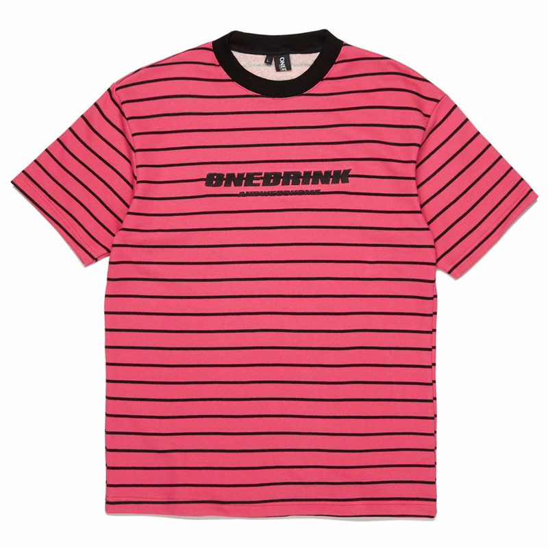 Summer 20 Stripe Tee, Pink/Black