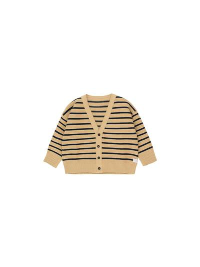 SMALL STRIPES CARDIGAN SAND/TRUE NAVY