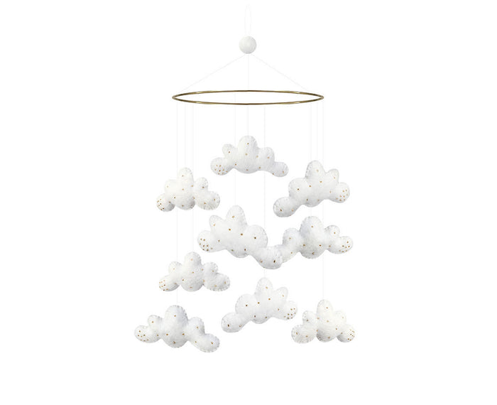 Cloud Mobile with gold beads