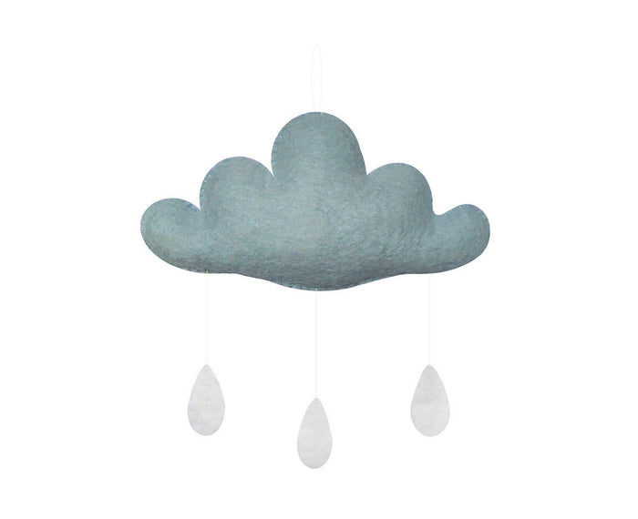 Cloud Mobile with Drops - Light Blue