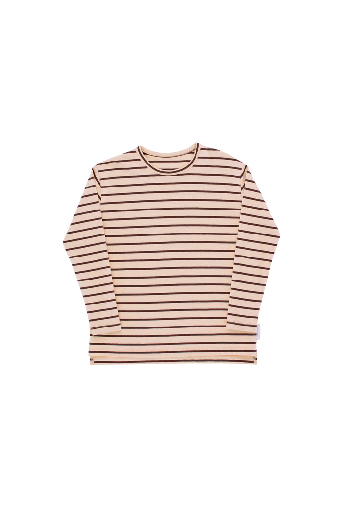 small stripes T-shirt nude/plum