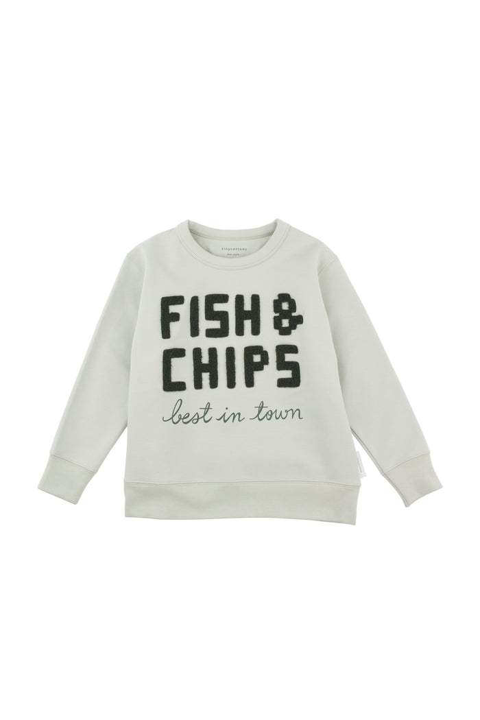 fish & chips graphic sweatshirt pistacho/dark green