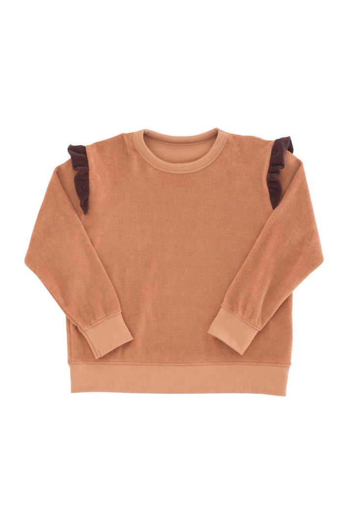 frills towel sweatshirt terracotta/plum