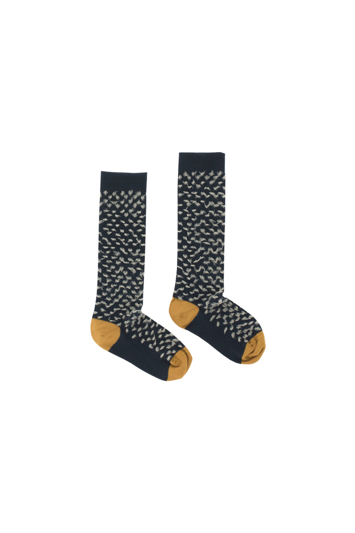 hairy high socks navy/pistacho
