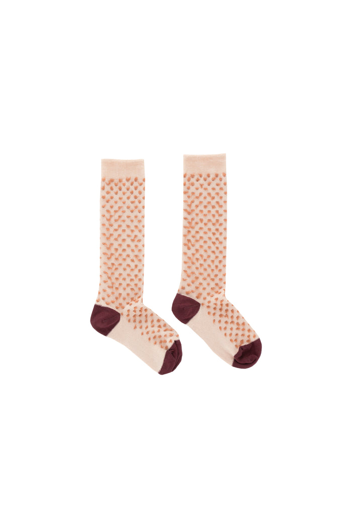 hairy high socks nude/terracotta