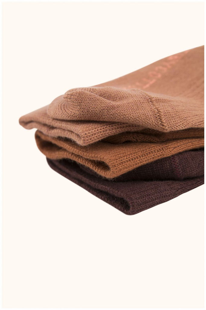 pack of 3 medium socks plum/brick/terracotta