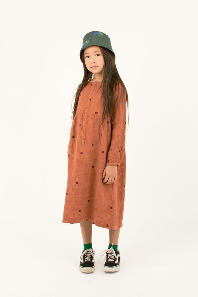 "DOTS ""CAT"" DRESS BROWN/AUBERGINE"