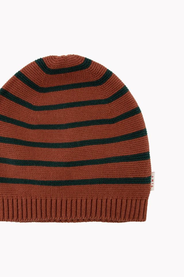 SMALL STRIPES BEANIE DARK BROWN/BOTTLE GREEN