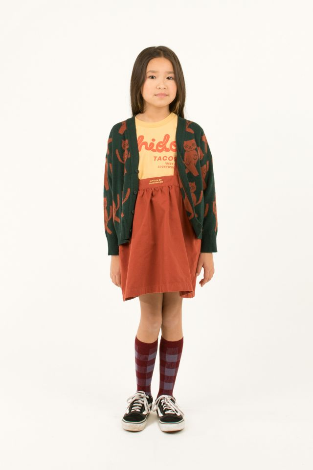 """CATS"" CARDIGAN GREEN/DARK BROWN"