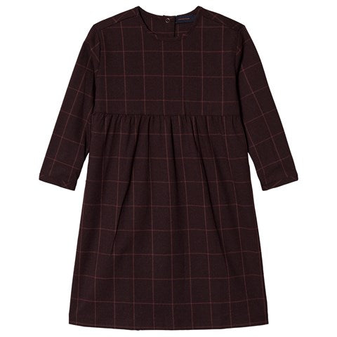 grid flannel dress - plum