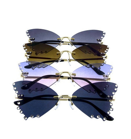 Sparkle Butterfly Rimless Sunglasses