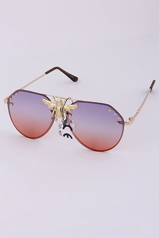 Bee Aviator Metal Sunglasses