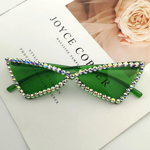 green Rhinestone cateye sunglasses