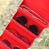 Travel 1 Pc 5 Slots Foldable Leather Eyewear Holder