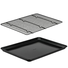 Load image into Gallery viewer, Baking Sheet with Cooling Rack Set, Non Stick Bakeware, Large Half Sheet Pan 12.75 x 17.75 with Oven Safe Cooling Rack, 2 Piece Set