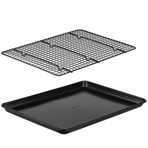 Baking Sheet with Cooling Rack Set, Non Stick Bakeware, Large Half Sheet Pan 12.75 x 17.75 with Oven Safe Cooling Rack, 2 Piece Set