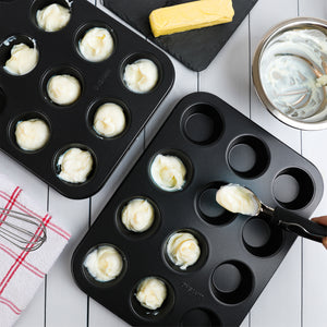 Non-Stick Bakeware 12 Cup Muffin Pan, Set of 2, Heavy Duty & Easy Release Cupcake Baking Pan