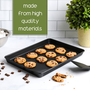 Non Stick Bakeware Set, Includes 3 Cookie Sheets in Multiple Sizes, Cake and Cookie Baking Pans, Oven Safe, Warp and Rust Resistant