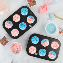 Load image into Gallery viewer, Non-Stick Bakeware 6 Cup Muffin Pan, Set of 2, Heavy Duty & Easy Release Cupcake Baking Pan