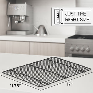 Cooling Rack for Baking, Large 11.75 x 17 Fits Half Sheet Pan, Non Stick, Easy to Clean and Cross Wires for Stability and Maximum Airflow