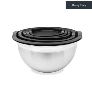Heavy Duty Meal Prep Stainless Steel Mixing Bowls Set with Black Lids