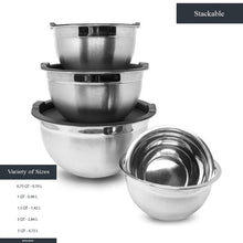 Load image into Gallery viewer, Heavy Duty Meal Prep Stainless Steel Mixing Bowls Set with Black Lids