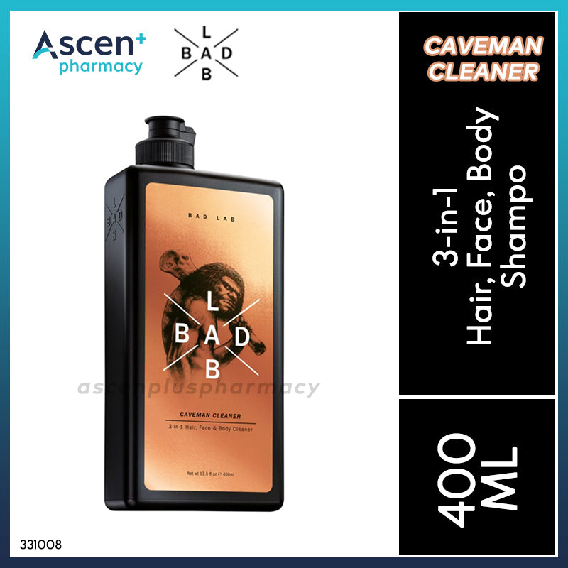 BAD LAB 3-in-1 Hair, Face, Body Shampoo (Caveman Cleaner) [400ml]