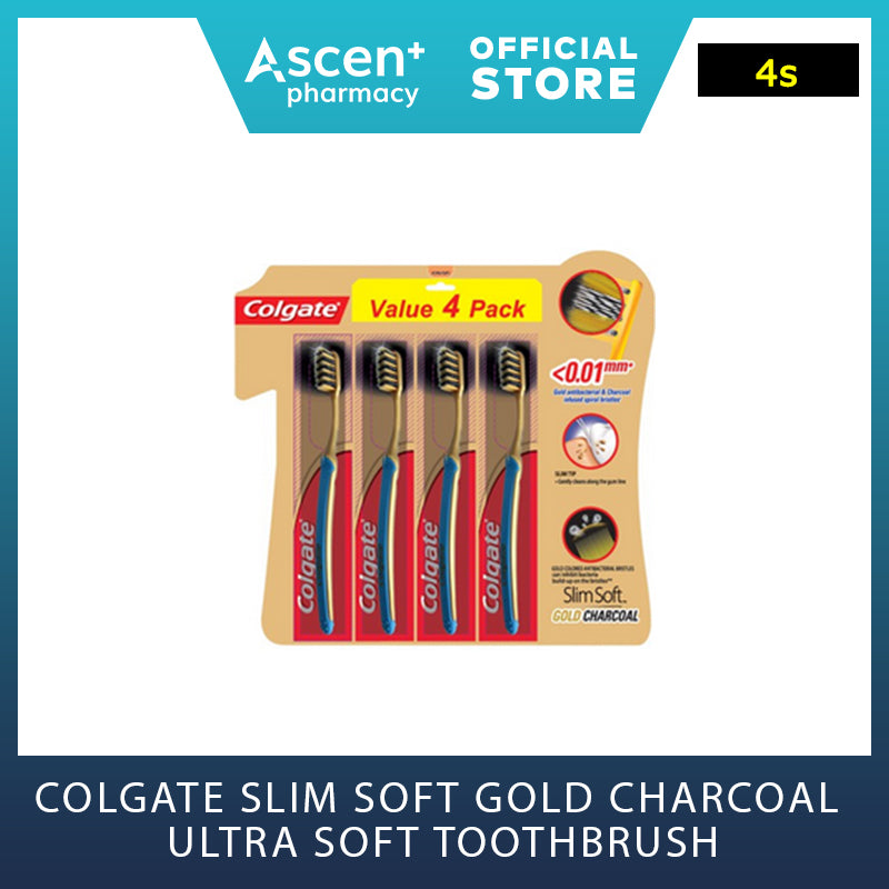 COLGATE Slim Soft Gold Charcoal Ultra Soft Toothbrush [4s]