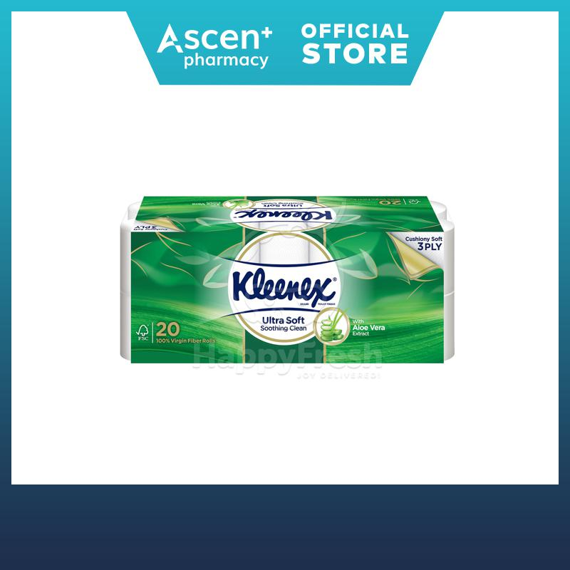 Kleenex Bath Tissue Clean Care Aloe Vera 3 Ply 20 Rolls