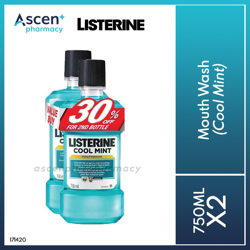 LISTERINE Mouth Wash [2x750ml] Cool Mint (LIMIT 2 SETS PER CUSTOMER)