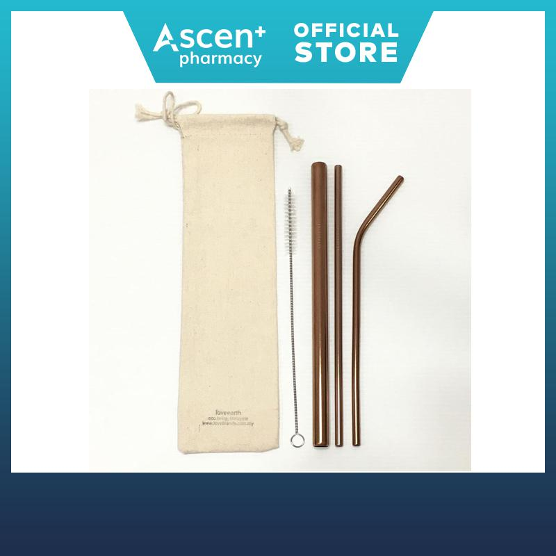 Love Brands Stainless Straw 304 6mm 3s Set (215mm) - Rose Gold