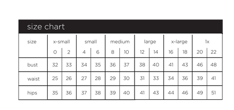 Size Chart for Paris Gordon Slimming Tank Top  Tee shirt and Dress