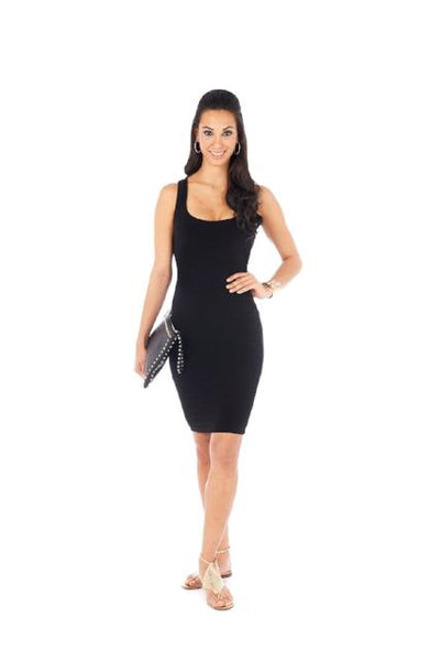 Black Tank Dress Racerback Rayon Spandex Slimming Body Con