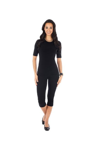 Tee shirt Jewel neck short sleeve Black Rayon Spandex Jersey Slimming Body Con Shapewear