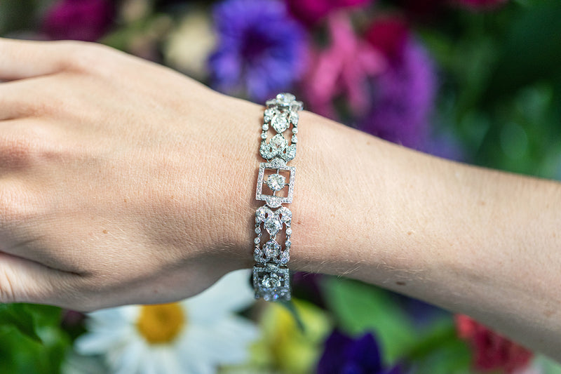 18ct White Gold Bracelet set with old mine cut Diamonds