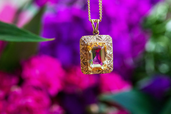 Citrine and 18ct Yellow Gold Pendant