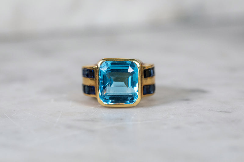 Blue Topaz with Sapphire Ring set in 18ct White Gold