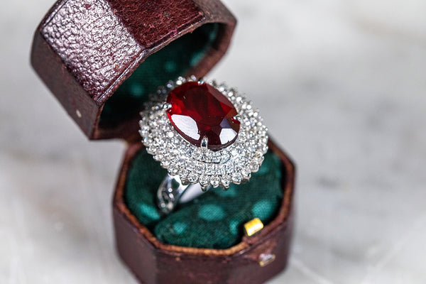 Ruby & Diamond Cocktail Ring set in White Gold