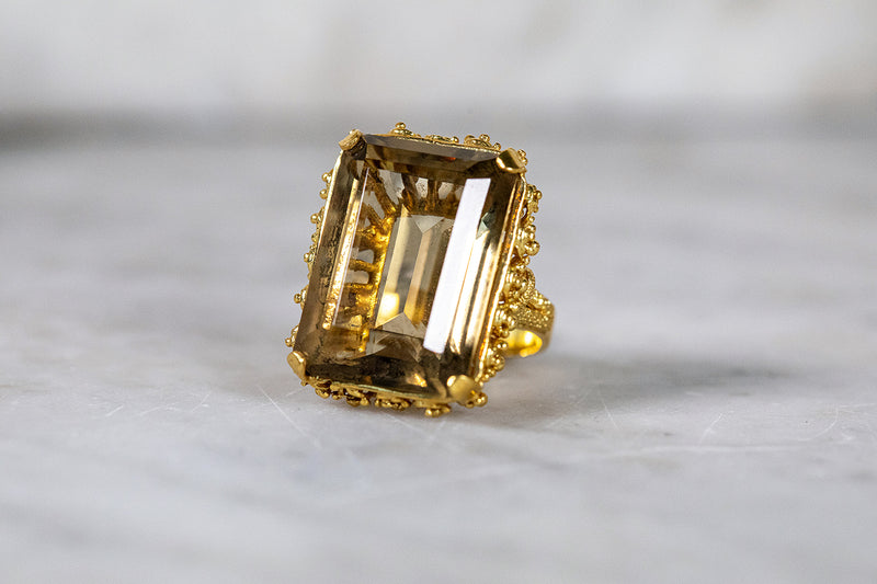 Citrine Cocktail Ring set in 18ct Yellow Gold