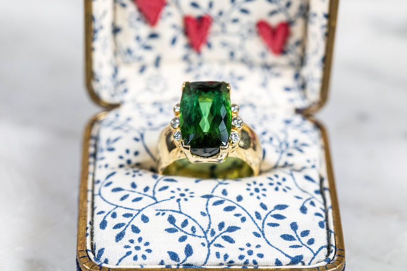 Peridot and Diamond Ring set in 18ct Yellow Gold