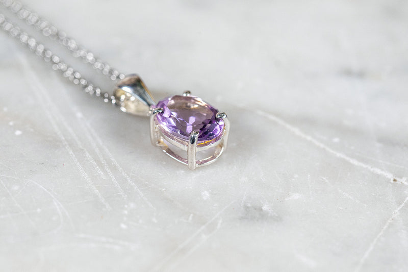 Amethyst Necklace set in Silver