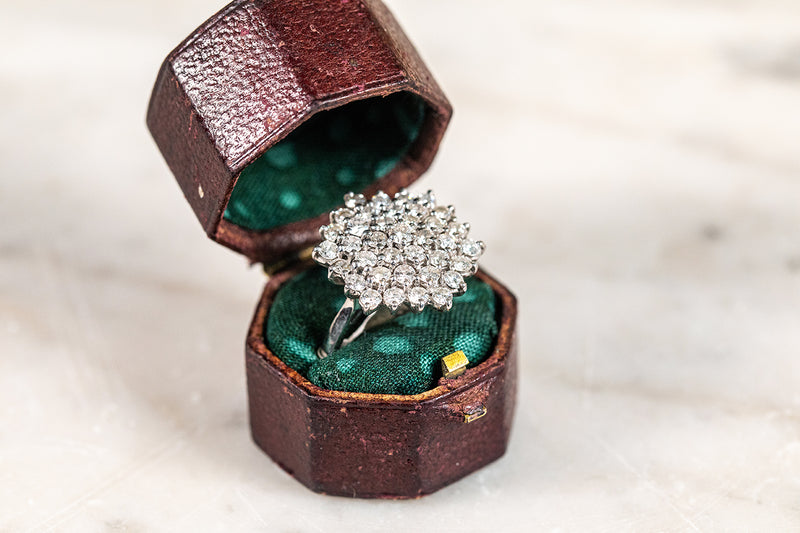 Diamond Hexagon Cluster Ring.