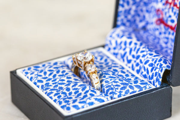 White Sapphire Ring set in Gold plate