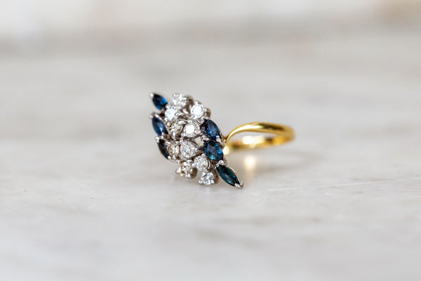 Sapphire & Diamond Cluster Ring set in 18ct Gold
