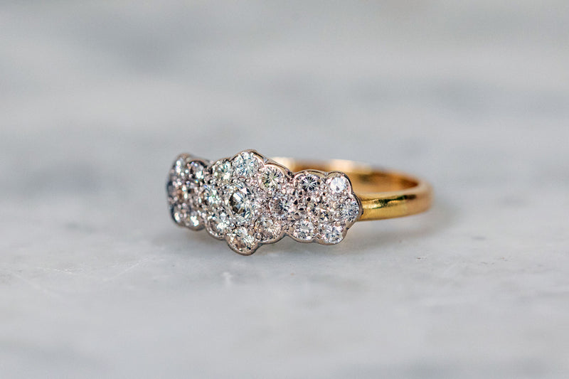 Cluster Trilogy Ring set in 18ct Gold