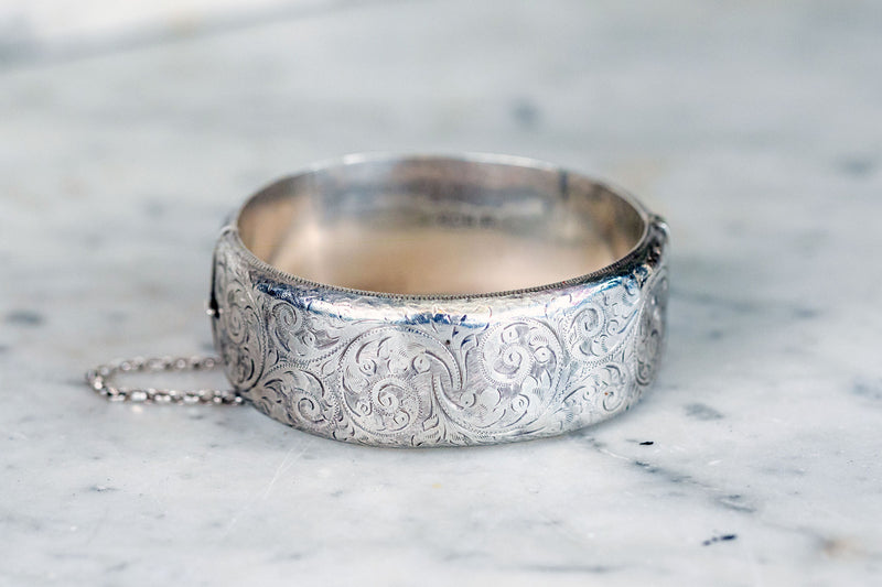 Sterling Silver Antique Wide Bangle