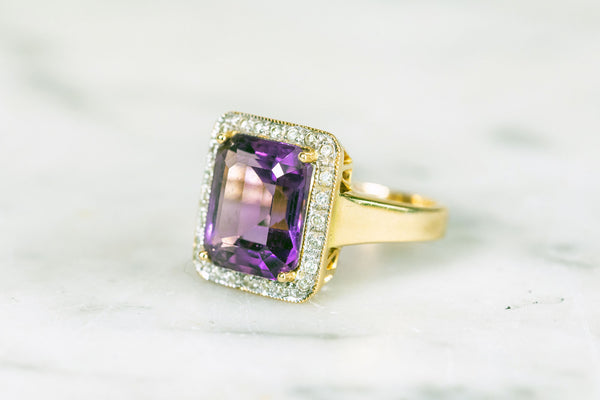 Emerald cut Amethyst and Diamond Ring Set in 18ct Gold