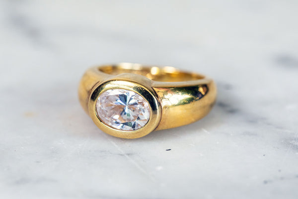 Oval Cubic Zirconia Ring set in 9ct Gold