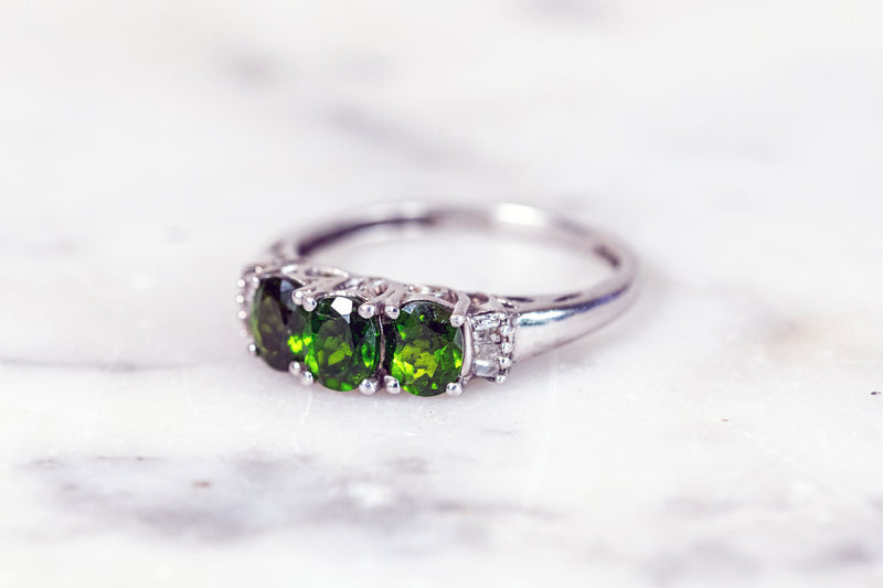 Peridot 3 Stone Trilogy ring set in Silver