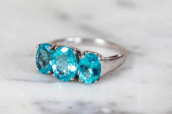 Blue Topaz Trilogy Ring set in Silver